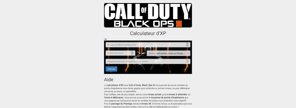 Calculateur d'expérience pour Call of Duty: Black Ops 3